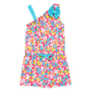 Okie Dokie® Double Strap Bow Romper - Girls 4-6x