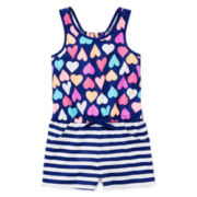 Okie Dokie® Sleeveless Gathered-Back Romper - Girls 2t-5t