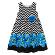Disorderly Kids® Sleeveless Floral Chevron Dress - Girls 4-6x