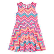 Okie Dokie® Sleeveless Print Skater Dress - Girls 4-6x