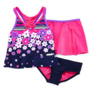 ZeroXposur® 3-pc. Floral Tankini Set - Girls 4-6x