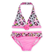 Angel Beach 2-pc. Pink Leopard Print Swimsuit - Girls 4-6x