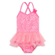 Angel Beach 1-pc. Zebra Tutu Swimsuit – Toddler Girls 2t-5t