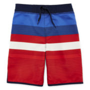 Arizona Americana Striped Swim Trunks - Boys 4-7