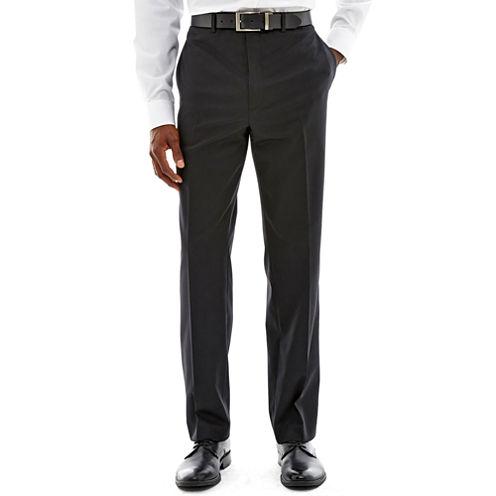 Claiborne® Black Solid Flat-Front Suit Pants