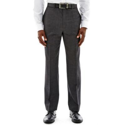 Claiborne® Charcoal Herringbone Flat-Front Stretch Suit Pants - Classic Fit