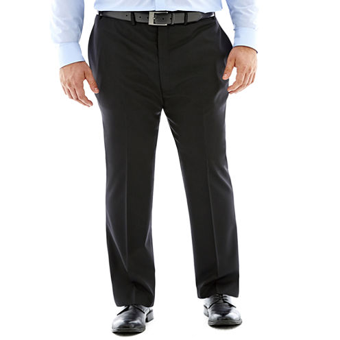 Claiborne® Black Solid Flat-Front Suit Pants–Big & Tall