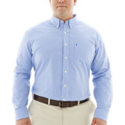 IZOD® Long-Sleeve Essential Gingham Shirt–Big & Tall