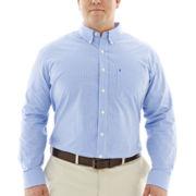 IZOD® Long-Sleeve Essential Gingham Shirt–Big & Tall