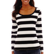 Liz Claiborne® Long-Sleeve Striped Tee