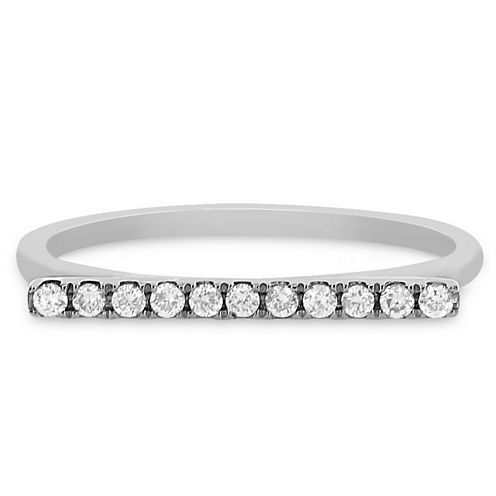 Womens 1/8 CT. T.W. Genuine Round White Diamond 14K Gold Stackable Ring
