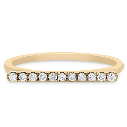 Womens 1/8 CT. T.W. Round White Diamond 14K Gold Stackable Ring