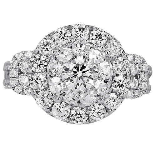 Womens 3 CT. T.W. Round White Diamond 14K Gold Engagement Ring