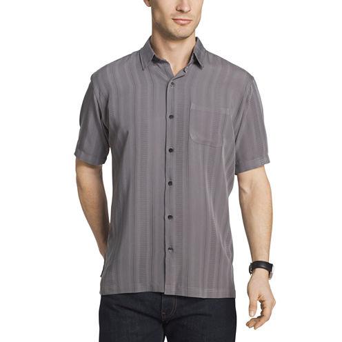 Van Heusen Short Sleeve Textured Stripe Camp Button-Front Shirt