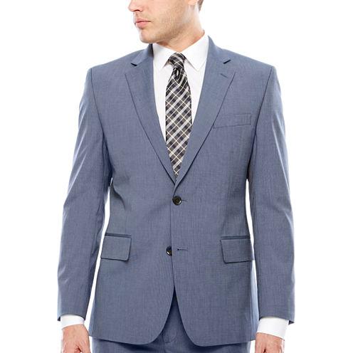 JF J. Ferrar Texture Stretch Light Blue Jacket- Classic Fit