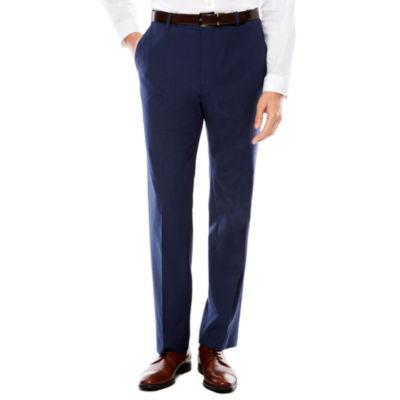 Men's JF Texture Stretch Dark Blue Flat-Front Straight-Leg Slim Pants