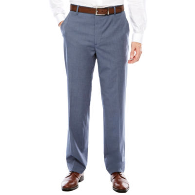 Men's JF J. Ferrar Texture Stretch Light Blue Flat-Front Straight-Leg Classic Fit Pant