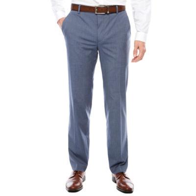 Men's JF J. Ferrar Texture Stretch Light Blue Flat-Front Straight-Leg Super Slim-Fit Pants