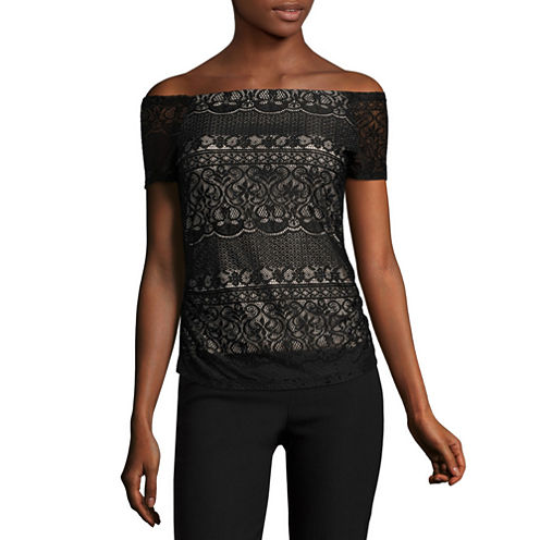 by&by Short Sleeve Square Neck Lace Blouse-Juniors