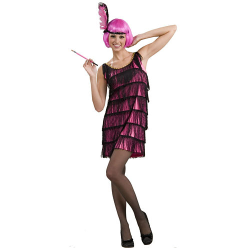20s Pink Flapper Adult Costume 2-pc. Dress Up Costume Womens