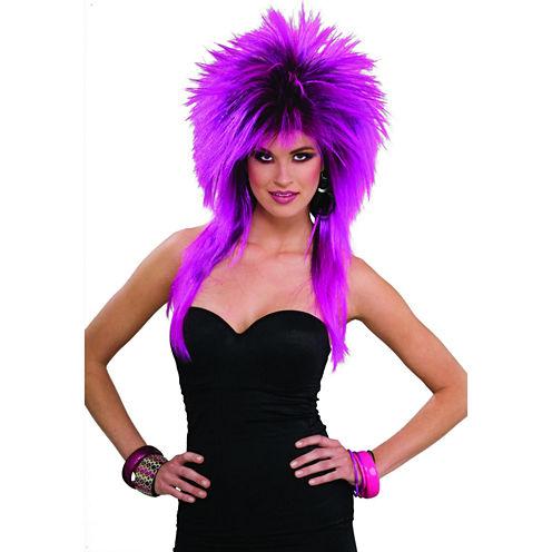 80s Purple Pizazz Adult Wig Womens Dress Up Accessory