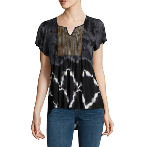 One World Apparel Short Sleeve Peasant Top