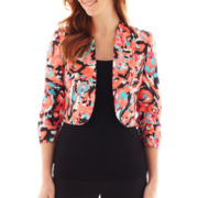 Black Label by Evan-Picone Print Shantung Jacket