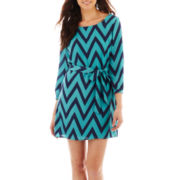 My Michelle 3/4-Sleeve Chevron Print Dress