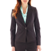 Black Label by Evan-Picone Notch-Collar Pinstripe Jacket