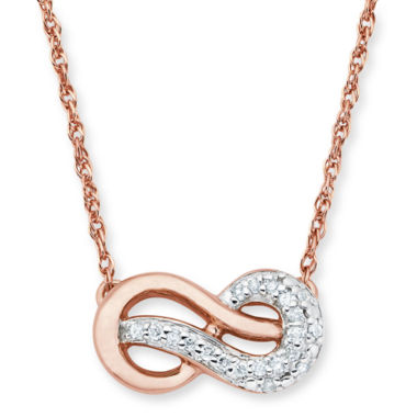 jcpenney.com | Infinite Promise 1/10 CTT.W. Diamond 14K Rose Gold Over Silver Infinity Necklace