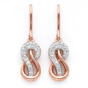 Infinite Promise 1/10 CTTW Diamond 14K Rose Gold Over Silver Infinity Earrings