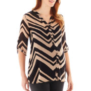 Maternity Chevron-Striped Button-Front Shirt