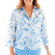 Alfred Dunner St. Kitts 3/4-Sleeve Leaf Print Shirt