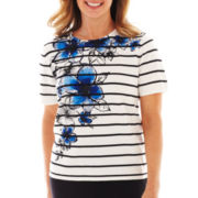 Alfred Dunner St. Kitts Short-Sleeve Striped Floral Yoke Sweater