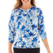 Alfred Dunner St. Kitts Floral Print Sweater
