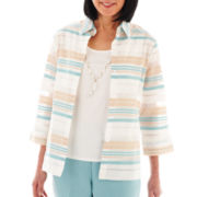 Alfred Dunner® When in Rome Striped Burnout Layered Top with Necklace
