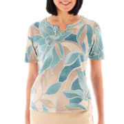Alfred Dunner When in Rome Abstract Floral Print Sweater