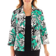 Alfred Dunner® Beekman Place 3/4-Sleeve Tropical Print Crinkle Jacket