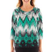 Alfred Dunner® Beekman Place Ikat Print Knit Top - Petite