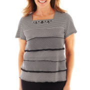 Alfred Dunner® Beekman Place Striped Ruffled Knit Top