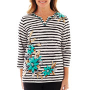 Alfred Dunner® Beekman Place Striped Floral Knit Top