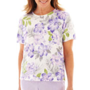 Alfred Dunner® Provence Short-Sleeve Floral Print Sweater