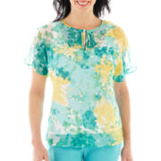 Lark Lane® Spring Fling Short-Sleeve Tie-Front Print Shirt with Tank Top