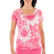 Lark Lane® Garden Party Short-Sleeve Daisy Print Top with Tank Top