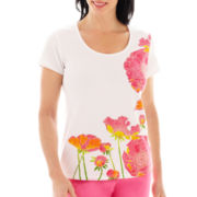 Lark Lane® Garden Party Short-Sleeve Embellished Poppies Print Top