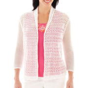 Lark Lane® Garden Party Shawl-Collar Pointelle Cardigan Sweater