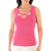 Lark Lane® Garden Party Embellished Ribbed Tank Top