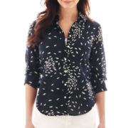 jcp™ Long-Sleeve Fish Print Silk-Blend Shirt