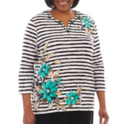 Alfred Dunner® Beekman Place Striped Floral Print Knit Top - Plus