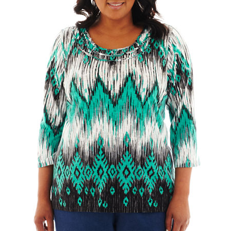 Alfred Dunner Beekman Place 3/4-Sleeve Ikat Print Knit Top - Plus